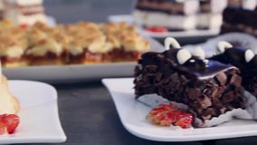 Decorative cakes. Steady Footage shot with dolly stock video