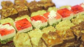 Decorative cakes on wedding reception stock video