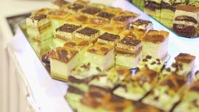 Decorative cakes on wedding reception stock video footage