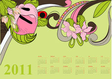 Decorative calendar for 2011. Universal template for greeting card, web page, background Stock Images