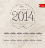 Decorative calendar of 2014. Template design - Decorative calendar of 2014 on a grunge vintage background Stock Images
