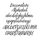 Decorative calligraphic alphabet. Handwritten brush letters. Uppercase, lowercase. Vector font Stock Photo