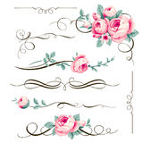 Decorative calligraphic elements and flowers for your design. stock illustration