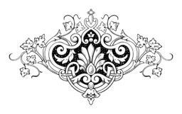 Decorative calligraphic floral ornament in vintage style stock photography