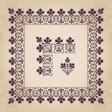 Decorative calligraphic ornamental corner and border elements with frame in vintage style. Vector set of calligraphic elements for design - lots of useful stock illustration