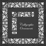 Decorative calligraphic ornaments, corners, borders and frames on a chalkboard background - for page decoration and design. Vector set of calligraphic elements Royalty Free Stock Images