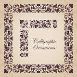 Decorative calligraphic ornaments, corners, borders and frames for page decoration and design. Vector set of calligraphic elements for design - lots of useful Royalty Free Stock Images