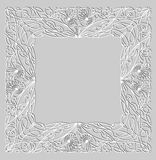 Decorative calligraphic square frame with vintage patterns for invitation Stock Photography