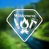 Decorative camping outdoor tourism emblem Royalty Free Stock Photography
