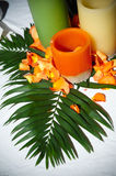 Decorative candle centerpiece Royalty Free Stock Images