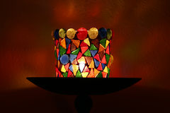Decorative candle holder. Candle holder made of coloured glass pieces stock images