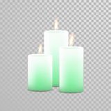 Decorative candle vector  set. Decorative candles set. Vector 3D realistic  round cylindrical festive candle sticks with burning flames on transparent background Stock Photo