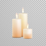 Decorative candle vector  set. Decorative candles set. Vector 3D realistic  round cylindrical candle sticks with burning flames on transparent background Stock Photo