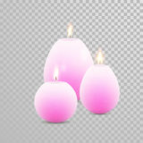 Decorative candle white pearl color vector. Decorative white pearl color candles set. Vector 3D realistic  aroma candle with burning flames on transparent Royalty Free Stock Images