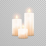 Decorative candle white pearl color vector. Decorative white pearl color candles set. Vector 3D realistic  round candle sticks with burning flames on transparent Stock Images