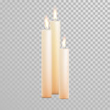 Decorative candle white pearl color vector. Decorative white pearl color candles set. Vector 3D realistic  round candle sticks with burning flames on transparent Stock Photo