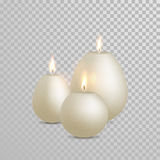 Decorative candle white pearl color vector. Decorative white pearl color candles set. Vector 3D realistic  round candle sticks with burning flames on transparent Stock Image