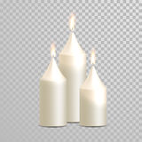 Decorative candle white vector  set. Decorative white candles set. Vector 3D realistic  round cylindrical candle sticks with burning flames on transparent Royalty Free Stock Image