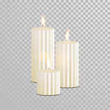 Decorative candle white vector  set. Decorative white candles set. Vector 3D realistic  round cylindrical candle sticks with burning flames on transparent Royalty Free Stock Photos