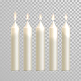 Decorative candle white vector  set. Decorative white candles set. Vector 3D realistic  round cylindrical candle sticks with burning flames on transparent Stock Photo