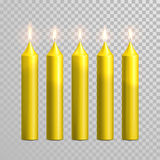 Decorative candle yellow vector  set. Decorative yellow candles set. Vector 3D realistic  round cylindrical candle sticks with burning flames on transparent Stock Photo