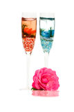 Decorative Candles And Rose. Home Decorations - Candles and rose isolated on white background Royalty Free Stock Photography