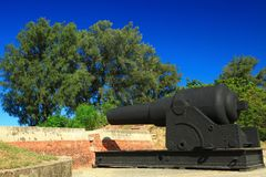 Decorative Cannon of Eternal Golden Castle Stock Images