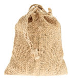 Decorative canvas bag. Small filled up canvas bag on white background Royalty Free Stock Image
