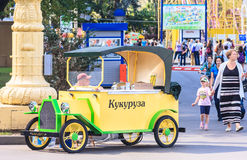 Decorative car to trade hot corn. Moscow Stock Image