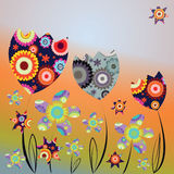 Decorative card with abstract tulips and daisies. Decorative card with abstract colorful tulips and daisies and stars on multicolored background stock illustration