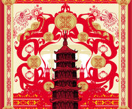 Decorative card with abstraction Asian building Royalty Free Stock Photos