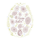 Decorative Card with Big Easter egg which consists of small hand Royalty Free Stock Photo