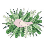 Decorative card bird and leaves. Vector illustration. Ideal for greeting card, invitation or wallpaper Royalty Free Stock Photography