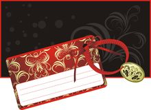 Decorative card with bow on the black background Royalty Free Stock Image