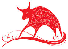 Decorative card with bull. Symbol of 2009 Stock Photo