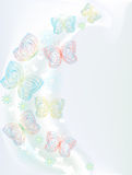 Decorative card with butterflies. Blue decorative card with butterflies Royalty Free Stock Photos