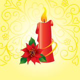 Decorative card with candle. And poinsettia Stock Images
