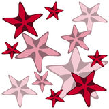 Decorative card with cartoon starfishes, vector Royalty Free Stock Photography