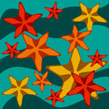 Decorative card with cartoon starfishes on wavy background, vector Royalty Free Stock Images