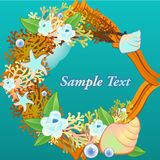 Decorative card with corals and flowers Royalty Free Stock Photos