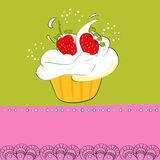 Decorative card with cupcake. Colorful illustration Royalty Free Stock Photography