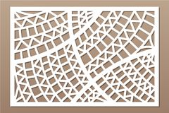 Decorative card for cutting. Geometric ethnic pattern. Laser cut panel. Ratio 2:3. Vector illustration.  Royalty Free Stock Photography