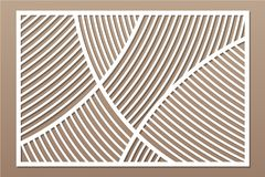 Decorative card for cutting. Geometric linear pattern. Laser cut panel. Ratio 2:3. Vector illustration.  Stock Images