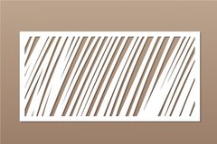 Decorative card for cutting. Geometric linear pattern. Laser cut panel. Ratio 1:2. Vector illustration.  Stock Photo