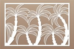 Decorative card for cutting. Palm leaf pattern. Laser cut panel. Ratio 2:3. Vector illustration.  Royalty Free Stock Images