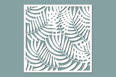 Decorative card for cutting. Palm leaf pattern. Laser cut. royalty free stock photography