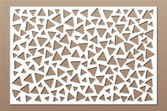 Decorative card for cutting. Repeat triangles pattern. Laser cut panel. Ratio 2:3. Vector illustration.  Royalty Free Stock Photography