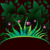 Decorative card with grass. And flowers royalty free illustration