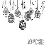 Decorative Card with Hanging Easter hand drawn ornamental eggs  Royalty Free Stock Images