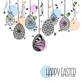 Decorative Card with Hanging Easter hand drawn ornamental eggs a Stock Photos